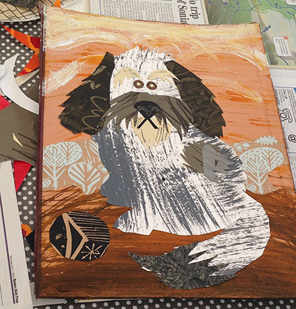 Collage done on Mark Hearld's Workshop at The Studio @ Burlingham Hall in June 2016