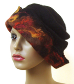fabulous multi coloured autumn tones felt hat